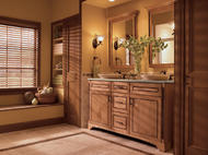 KraftMaid Vanity: Maple Bathroom in Ginger with Sable Glaze