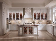 Kraftmaid: Maple Kitchen in Dove White with Palladia Glass Doors