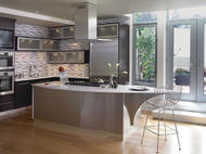 Kraftmaid: Cherry Kitchen in Peppercorn with Vetro Glass Doors