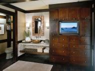 KraftMaid Vanity: Quartersawn Oak Bathroom in Peppercorn