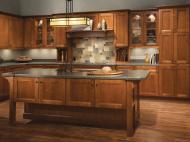 Kraftmaid: Cherry Kitchen in Sunset with Vista Mullion Glass Doors