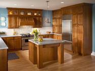 Kraftmaid: Cherry Kitchen in Sunset with Satina Glass Doors