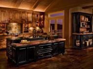 Kraftmaid: Rustic Birch Kitchen in Praline and Cherry in Vintage Onyx