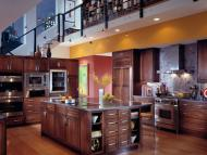 Kraftmaid: Cherry Kitchen with Island in Kaffe