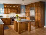 Kraftmaid: Cherry Kitchen in Sunset with Satina Glass Doors