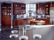 Kraftmaid: Cherry Kitchen in Autumn Blush with Cascade Glass Doors